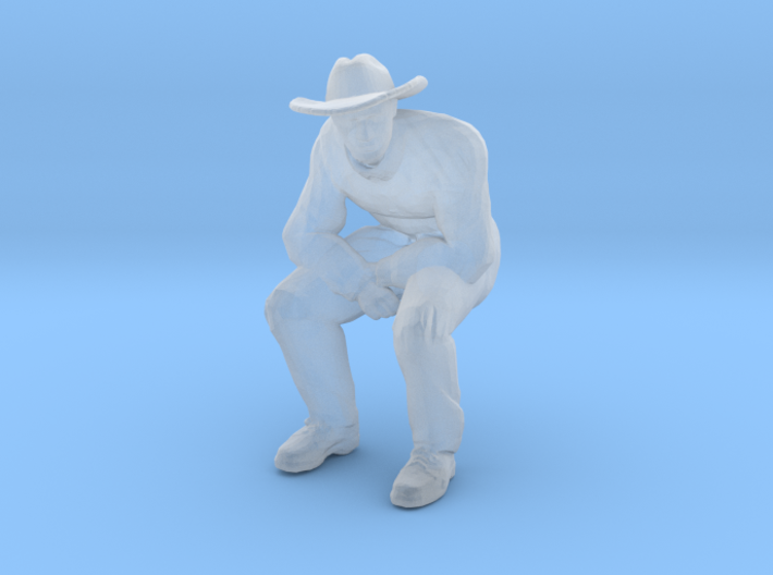 Man Sitting; Large Hat 3d printed