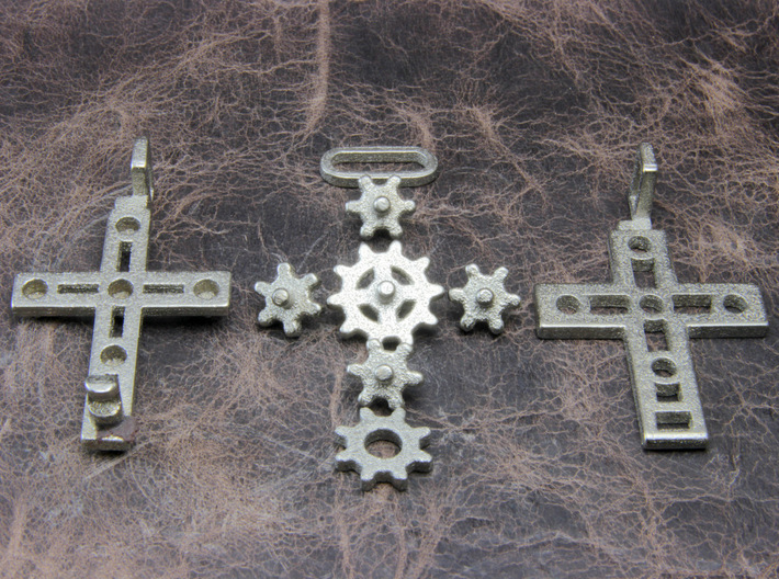 "Rotate Pendant ""Cross Gear"" 3d printed This pendant is made of multiple parts."
