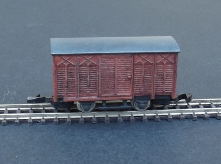 Wagon Couvert Marly Body - Nm - 1:160 3d printed Complete model with WSF chassis + wheels and coupler