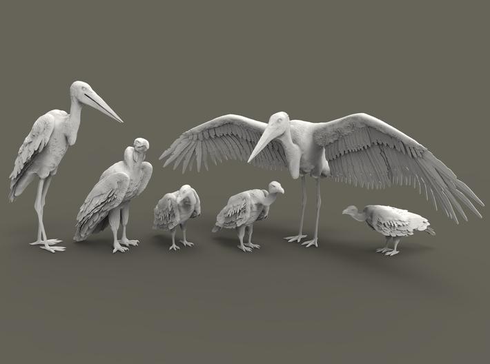 Scavenger Birds Set 1:87 six different pieces 3d printed