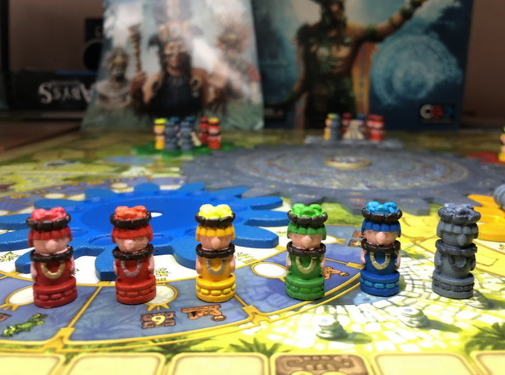 Mayan Worker Tokens (6 pcs) 3d printed Hand-painted models. Photo courtesy of user maciekrei (Rudeman on BGG)