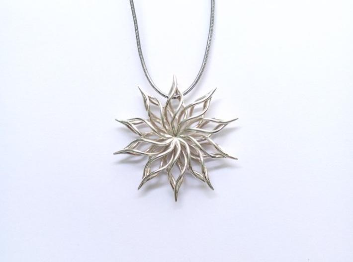 Sunflower Pendant 3d printed premium silver