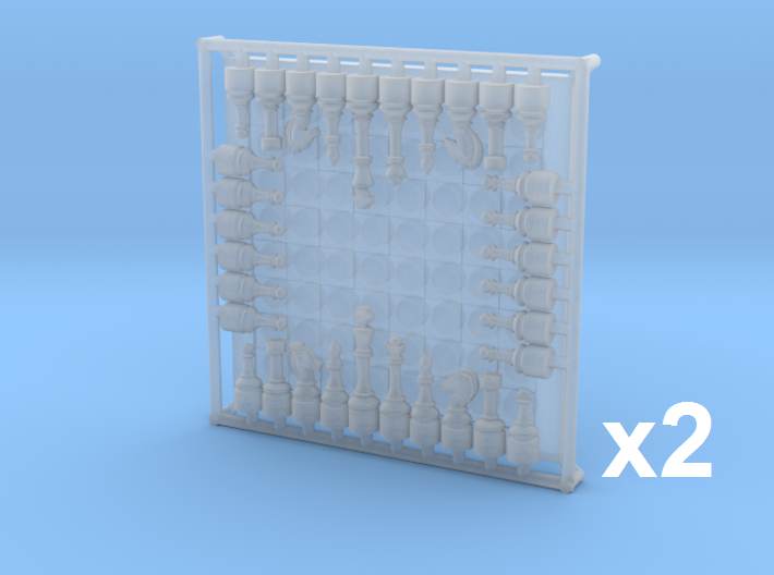 1/18 Scale Chess Board & Pieces (x2 complete sets) 3d printed