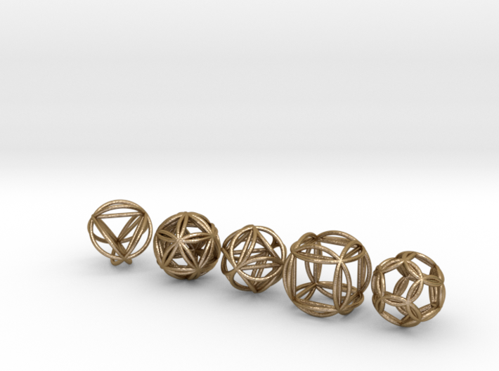 Platonic Spheres w/Nested Platonic Solids 3d printed