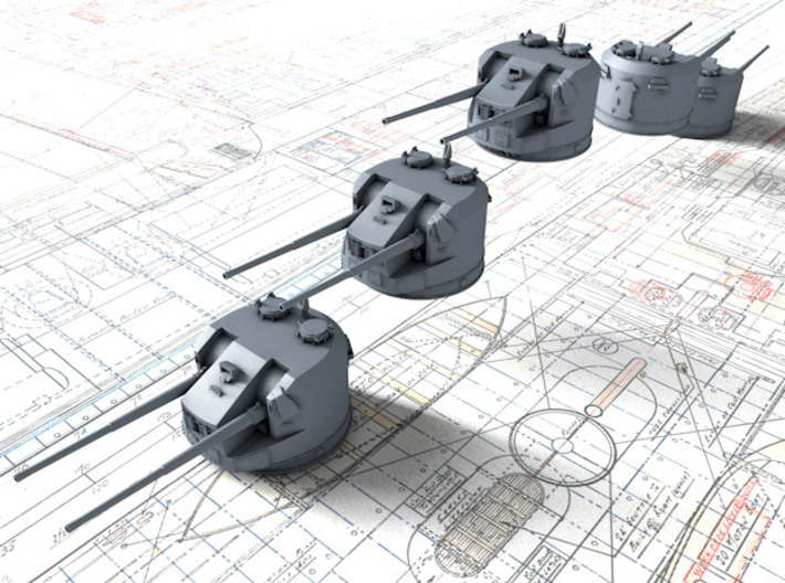 1/300 Dual Purpose 5.25 Inch Guns 1943 x5 3d printed 3d render showing product detail