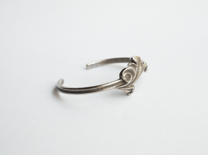 Acanthus Leaf Bangle Cuff 3d printed Polished Bronze-Silver Steel