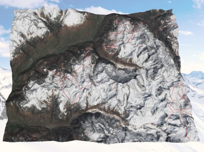 La Plagne and Les Arcs Ski Areas 3d printed