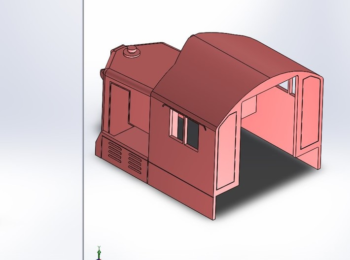 GP20 Cab & Short Hood in S Scale 3d printed Back side