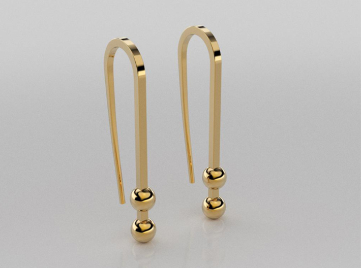 Long earrings with small balls 3d printed