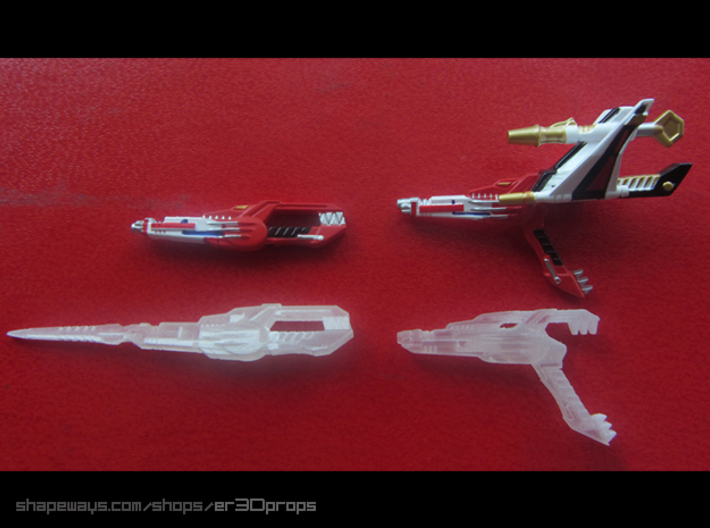 """Ranger Stick (5 swords) 3d printed Size comparison image. This product is for 5 """"Sword modes"""" only."""