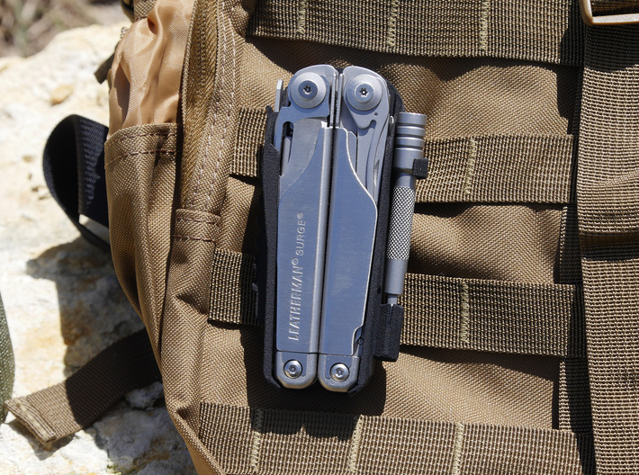 Leatherman Surge Holster, for Belt or PALS 3d printed Attaches to PALS/MOLLE webbing.