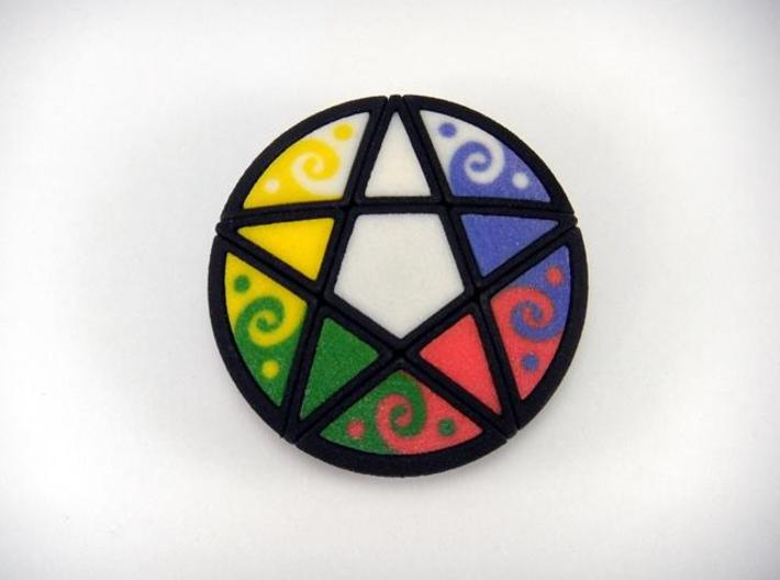 Pentacle Puzzle Color Chips 3d printed Solved