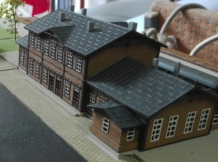 Wooden Train Station 3d printed