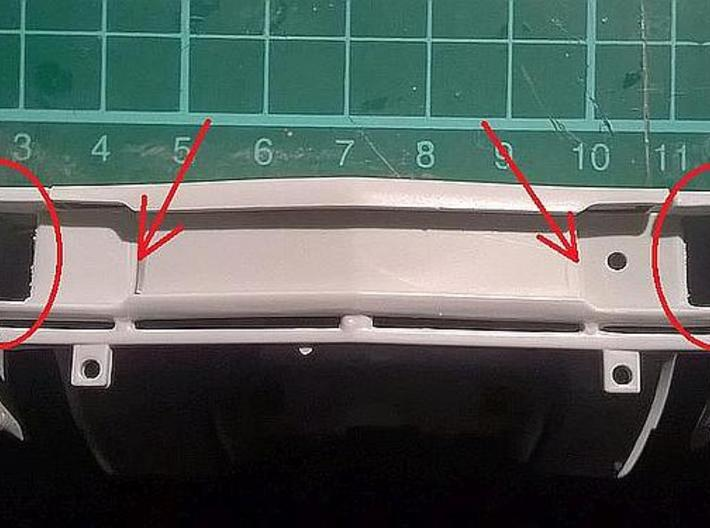 1/25 1969 Plymouth Roadrunner Grill 3d printed filing necessary at marked areas