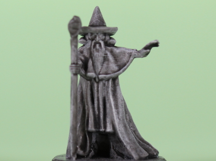 Wizard with pointy hat 3d printed photo of my test print with base layer paint