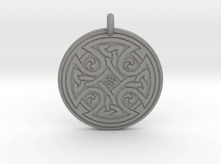 Celtic Cross - Round Pendant 3d printed