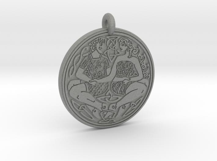 Divine Couple Celtic - Round Pendant 3d printed