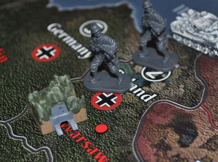 Underground Industrial Complex 3d printed Painted and Placed on Axis & Allies 1940 Global Board