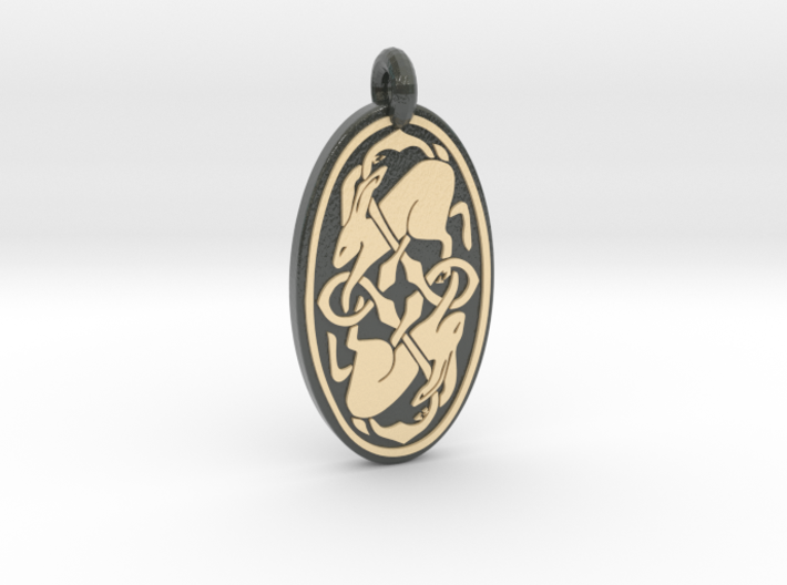 Hare - Oval Pendant 3d printed