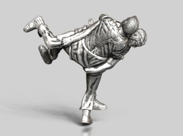 Swiss wrestling - 60mm high 3d printed Antique Silver