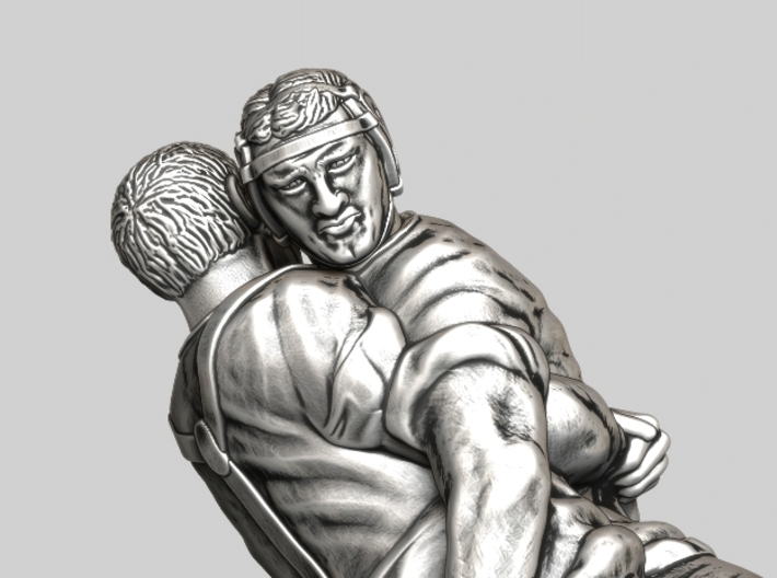 Swiss wrestling - 35mm high 3d printed Antique Silver