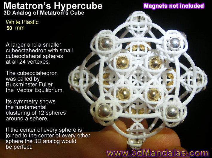 3D Metatron's Cube (add your own magnets) 3d printed Magnets are 4mm neodymium from ebay