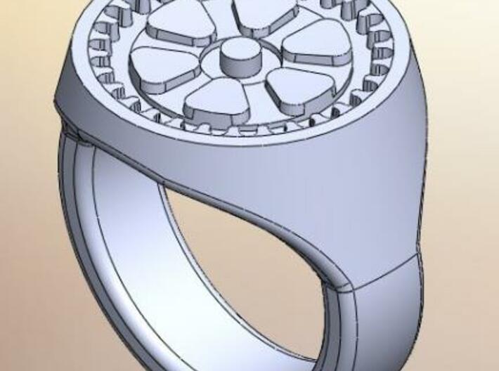Gear Signet Ring 3d printed