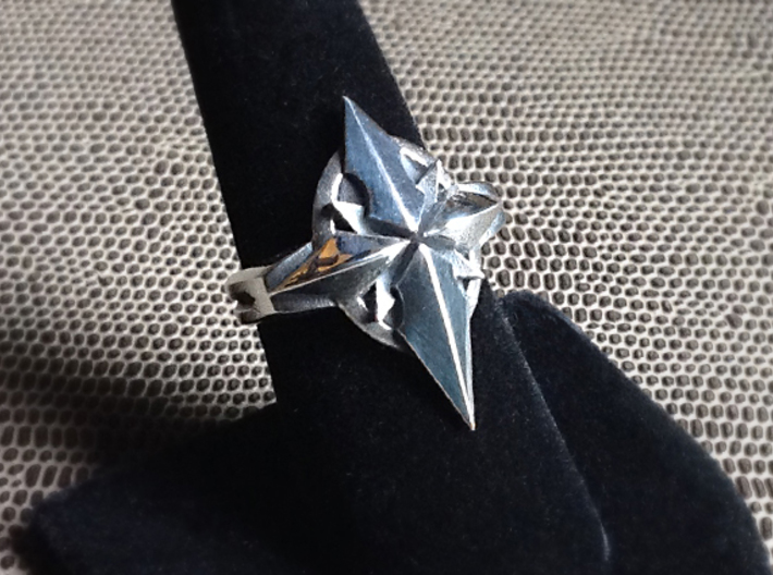 North Star Cross Ring - Size 8 (18.14 mm) 3d printed Polished Silver