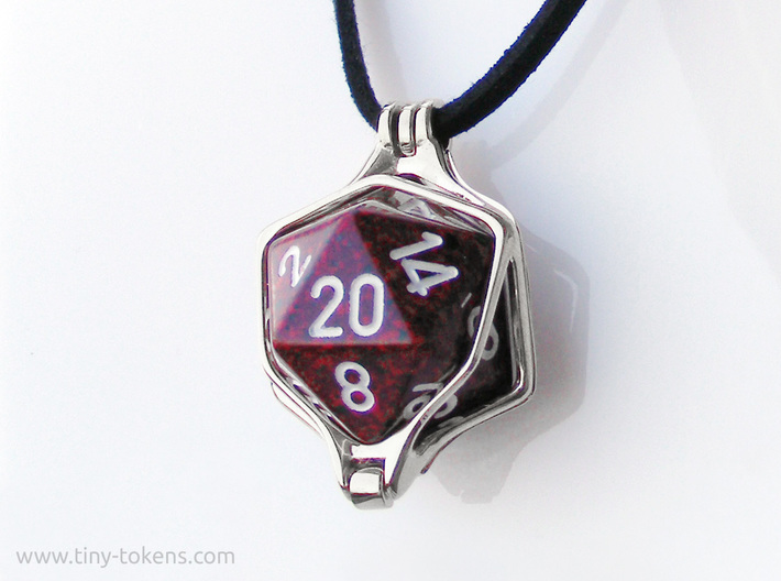 Dice Pendant - D20 20mm 3d printed Silver