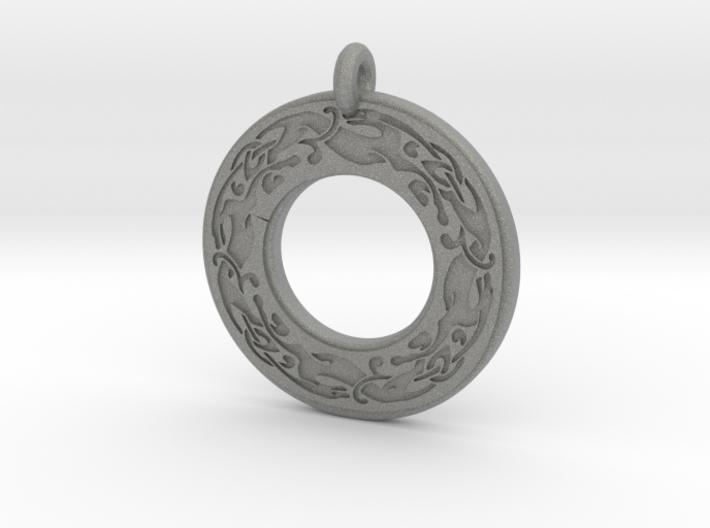 Celtic Dog Annulus Donut Pendant 3d printed