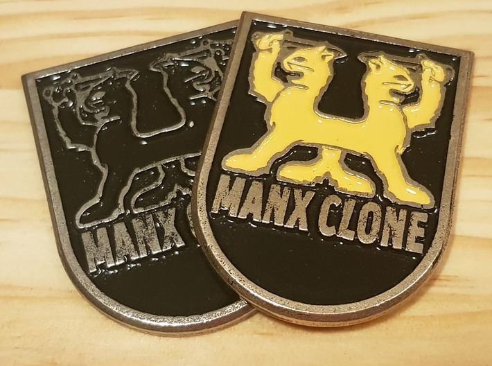 """""""MANX CLONE"""" front badge 3d printed Printed in Polished Bronze Silver steel and painted."""