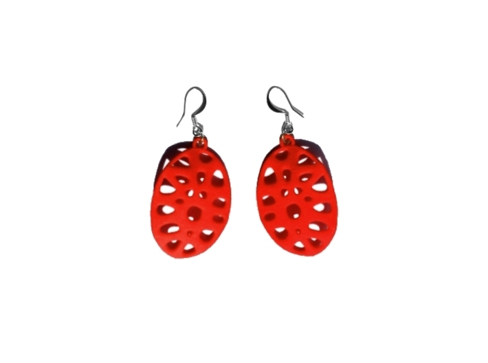 Exteriority Earrings 3d printed Coral Red Strong & Flexible