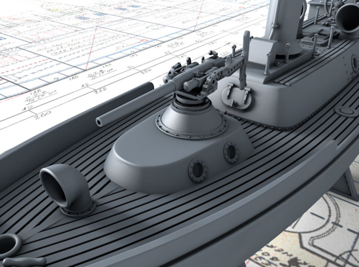 1/192 Hotchkiss 3-pdr for 50ft Steam Pinnace 3d printed 3D render showing Gun mounted on 50ft Steam Pinnace (NOT Included)
