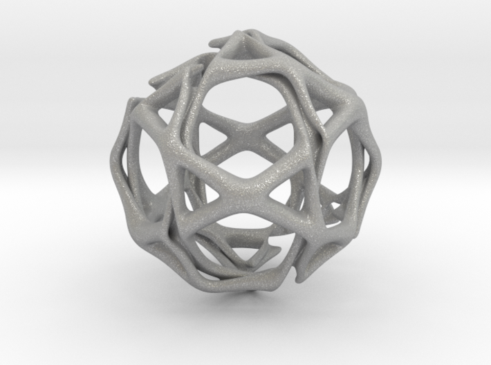 Icosidodecahedron Twisted members 3d printed
