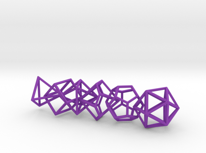 Polyhedral Dice Set Wireframe Pendant 3d printed