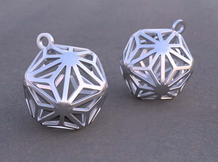 Triakis Icosahedron Earrings 3d printed Example rendering of earrings in Rhodium