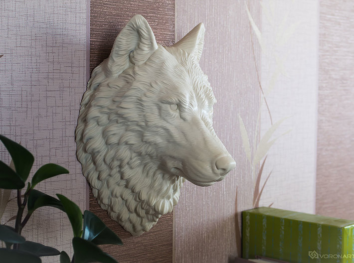 Proud Wolf Wall Mount 3d printed Large size (30 cm)