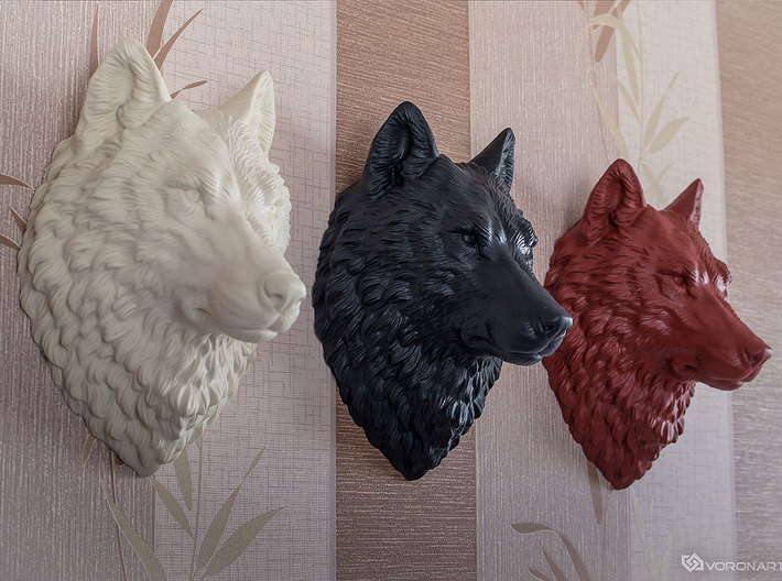Proud Wolf Wall Mount 3d printed Large size (30 cm) hand painted