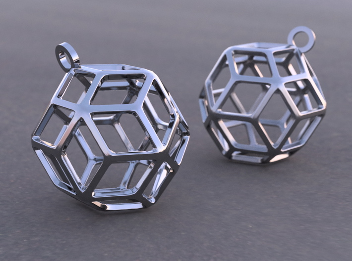 Rhombic Triacontahedron Earrings 3d printed Example rendering in Anique Silver