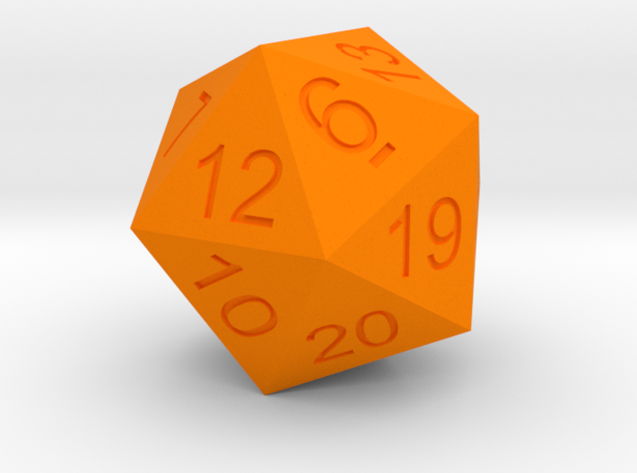 20 Sided Dice Normal size Icosahedron 3d printed