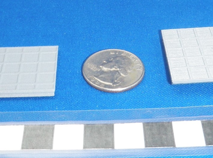 P1 Barge Plain 4x5 1to285 3d printed White Strong on Left & Frosted Detail on Right painted with model master primer