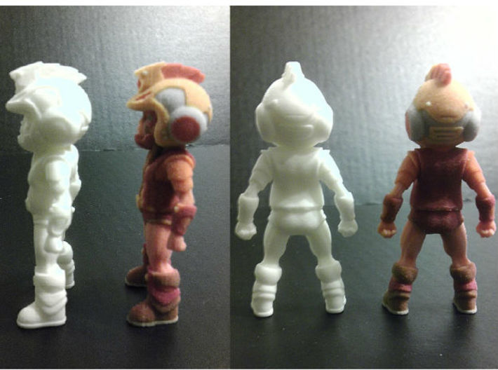Primacron homage Space Monkey 2.75inch Transformer 3d printed Side and Back views of 2.75 inch Primacron printed in both Full Color Sandstone and White Strong Flexible Polished