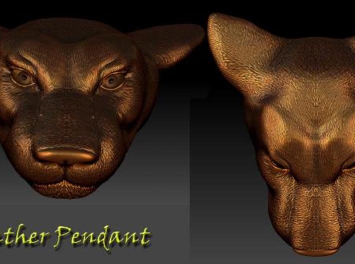 Panther Head Pendant 3d printed