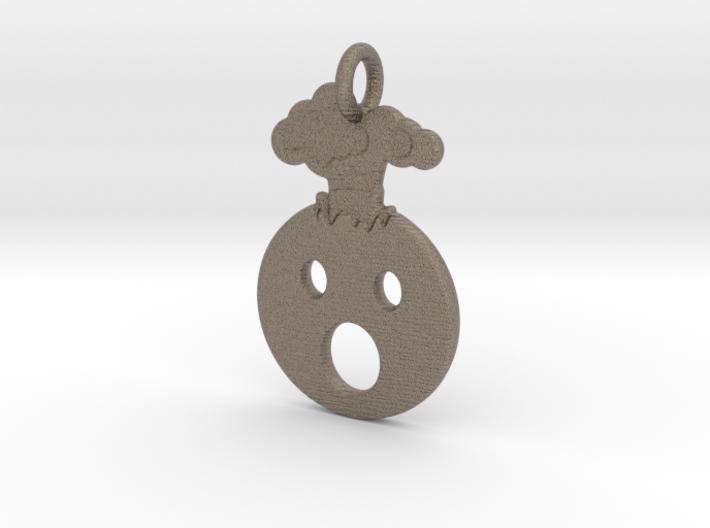 Mind Blown Emoji Pendant - Metal 3d printed
