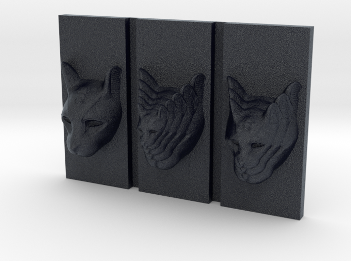 Cat Triptych-Faced Caricature (001) 3d printed