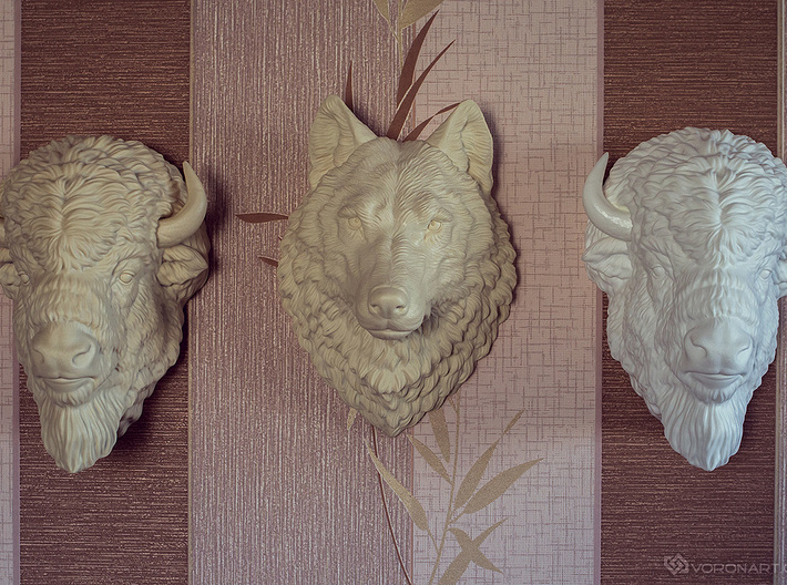 American Bison head. Wall-mounted sculpture 3d printed painted with acrylic