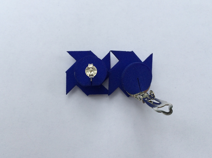 Pinwheel Earrings | Kinetic 3d printed Blue - showing stud and clip-on