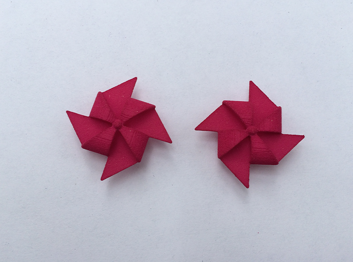 Pinwheel Earrings | Kinetic 3d printed Pink
