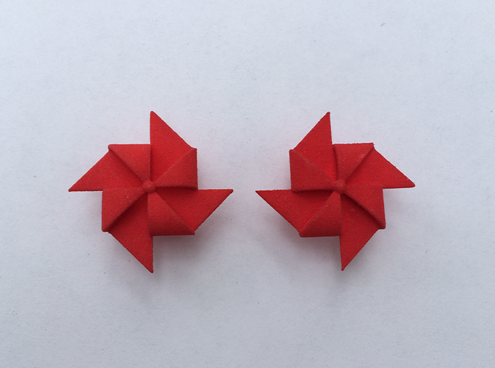 Pinwheel Earrings | Kinetic 3d printed Coral Red