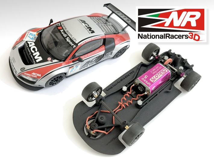 3D Chassis - Ninco Audi R8 LMS - Combo 3d printed Chassis compatible with NINCO model (slot car and other parts not included)